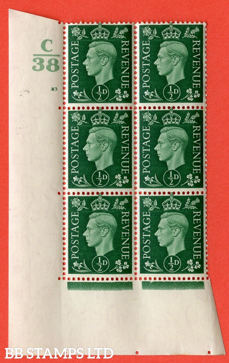 """SG. 462. Q1. ½d Green. A superb UNMOUNTED MINT """" Control C38 cylinder 43 (ii) no dot """" block of 6 with perf type 5 E/I with marginal rule."""