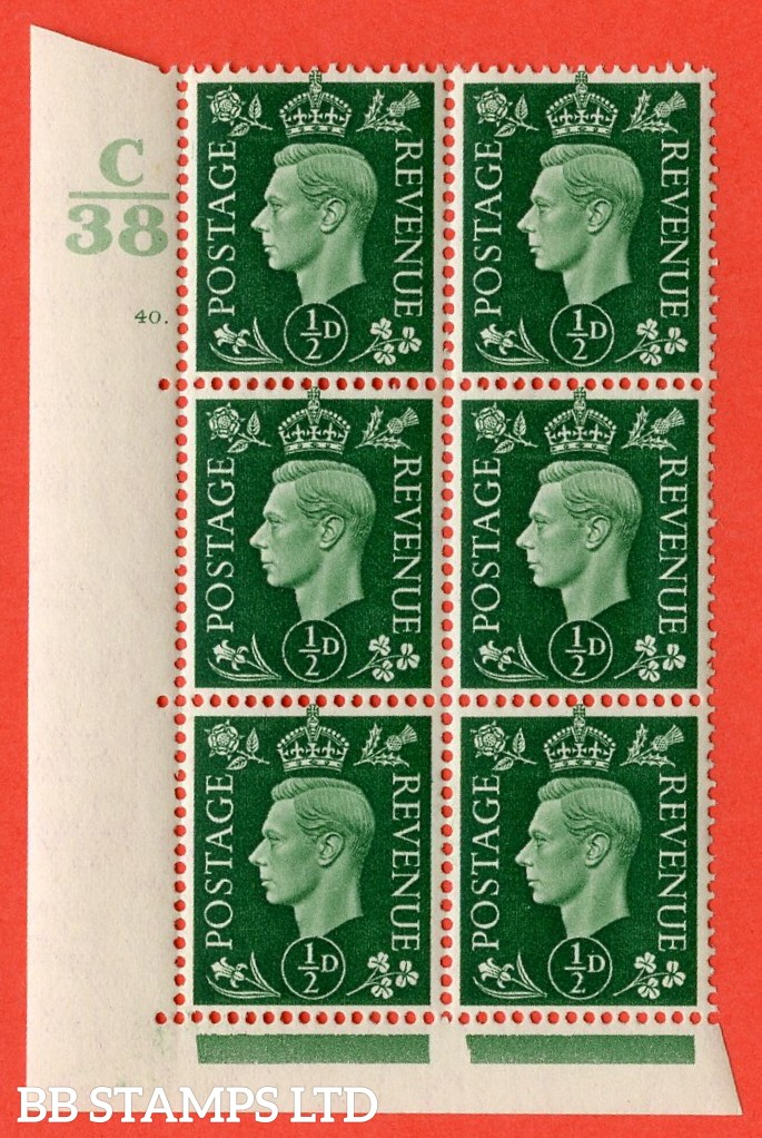 "SG. 462. Q1. ½d Green. A fine lightly mounted mint "" Control C38 cylinder 40 dot "" block of 6 with perf type 5 E/I with marginal rule."