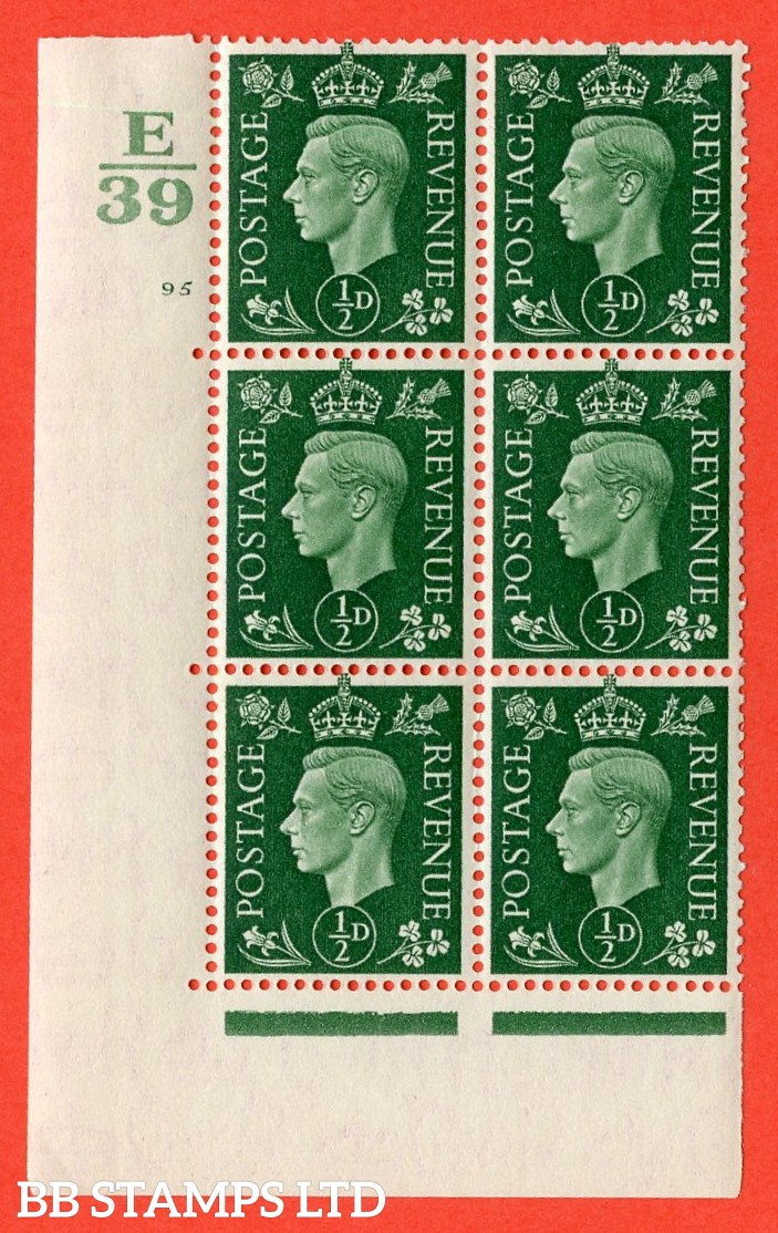 "SG. 462. Q1. ½d Green. A very fine lightly mounted mint "" Control E39 cylinder 95 no dot "" block of 6 with perf type 5 E/I with marginal rule."
