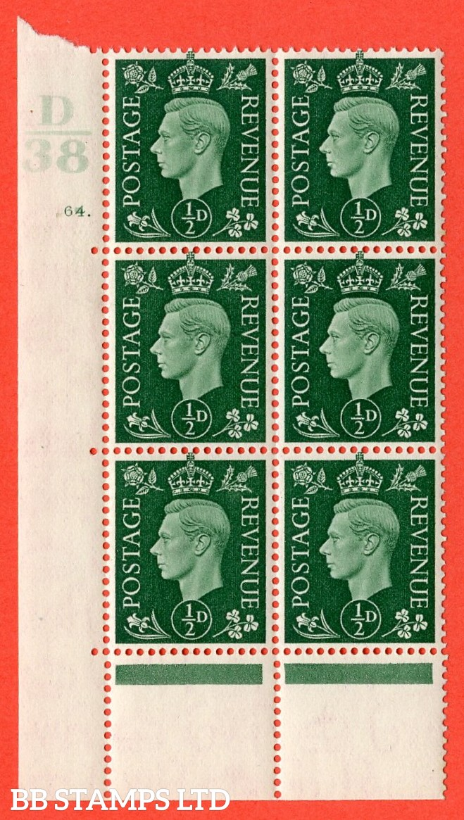 "SG. 462. Q1. ½d Green. A superb UNMOUNTED MINT "" Control D38 cylinder 64 dot "" block of 6 with perf type 5 E/I with marginal rule. Perf encroachment."