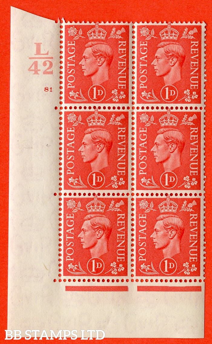 "SG. 486. Q5. 1d Pale scarlet. A superb UNMOUNTED MINT ""  Control L42 cylinder 81 no dot "" control block of 6 with perf type 5 E/I."