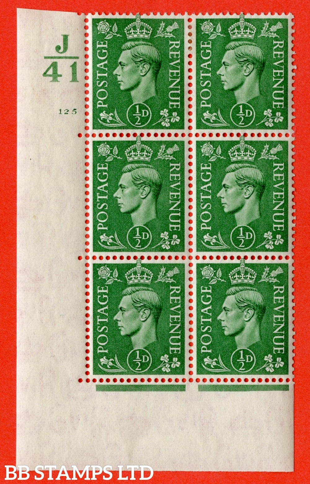 "SG. 485. Q2. ½d Pale Green. A very fine lightly mounted mint "" Control J41 cylinder 125 no dot "" block of 6 with perf type 5 E/I with marginal rule."