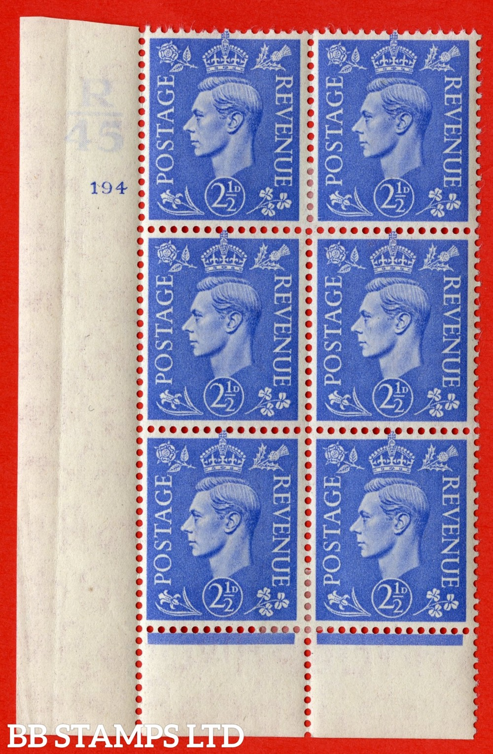 """SG. 489. Q14. 2½d Light ultramarine. A very fine lightly mounted mint """"  Control R45 cylinder 194 no dot """" control block of 6 with perf type 6 I/P."""