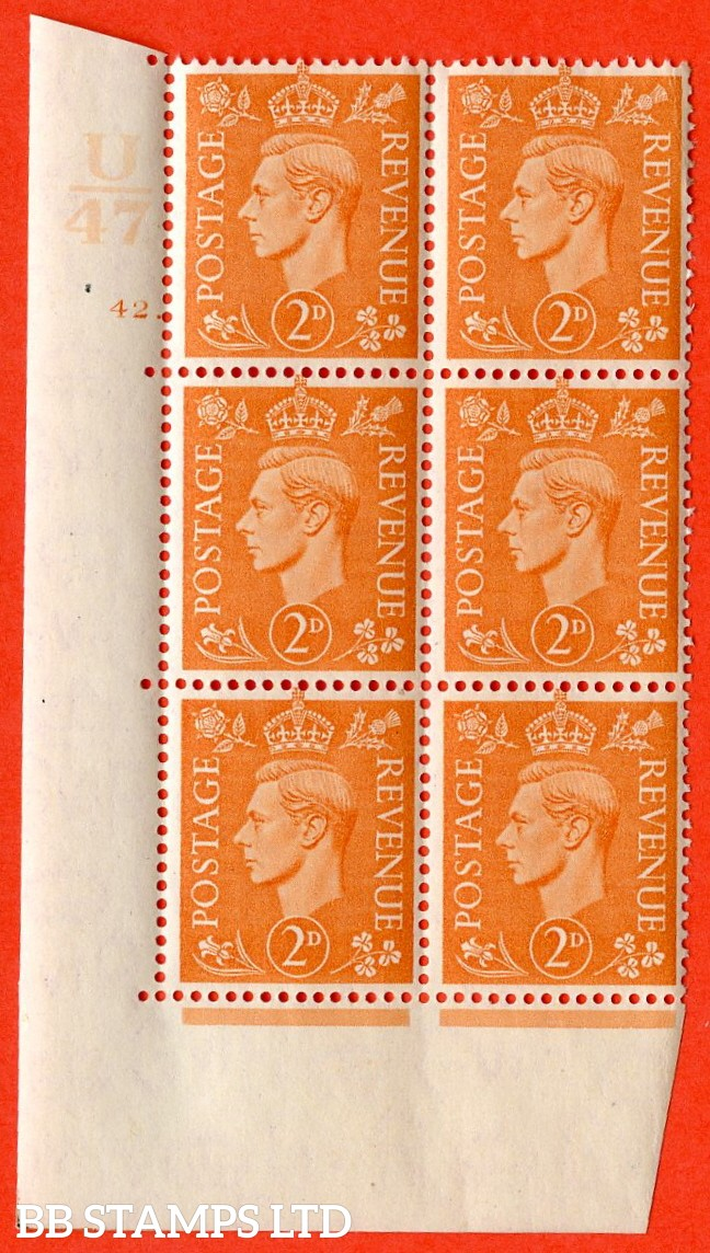 "SG. 488. Q11. 2d Pale Orange. A superb UNMOUNTED MINT. "" Control U47 cylinder 42 no dot "" control block of 6 with perf type 5 E/I."