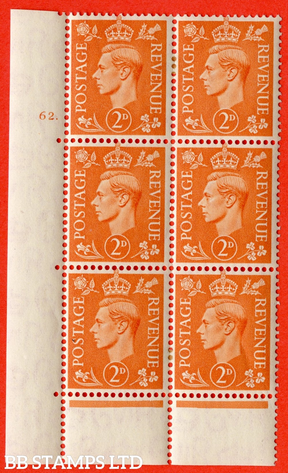 "SG. 488. Q11. 2d Pale Orange. A fine ligthtly mounted mint "" No Control cylinder 62 dot "" control block of 6 with perf type 6B E/P."
