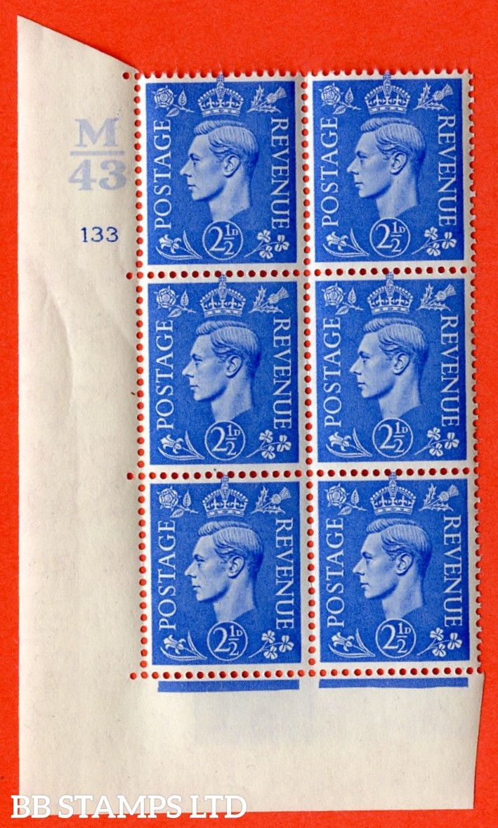 "SG. 489. Q14. 2½d Light ultramarine. A superb UNMOUNTED MINT "" Control M43 cylinder 133 no dot "" control block of 6 with perf type 5 E/I."