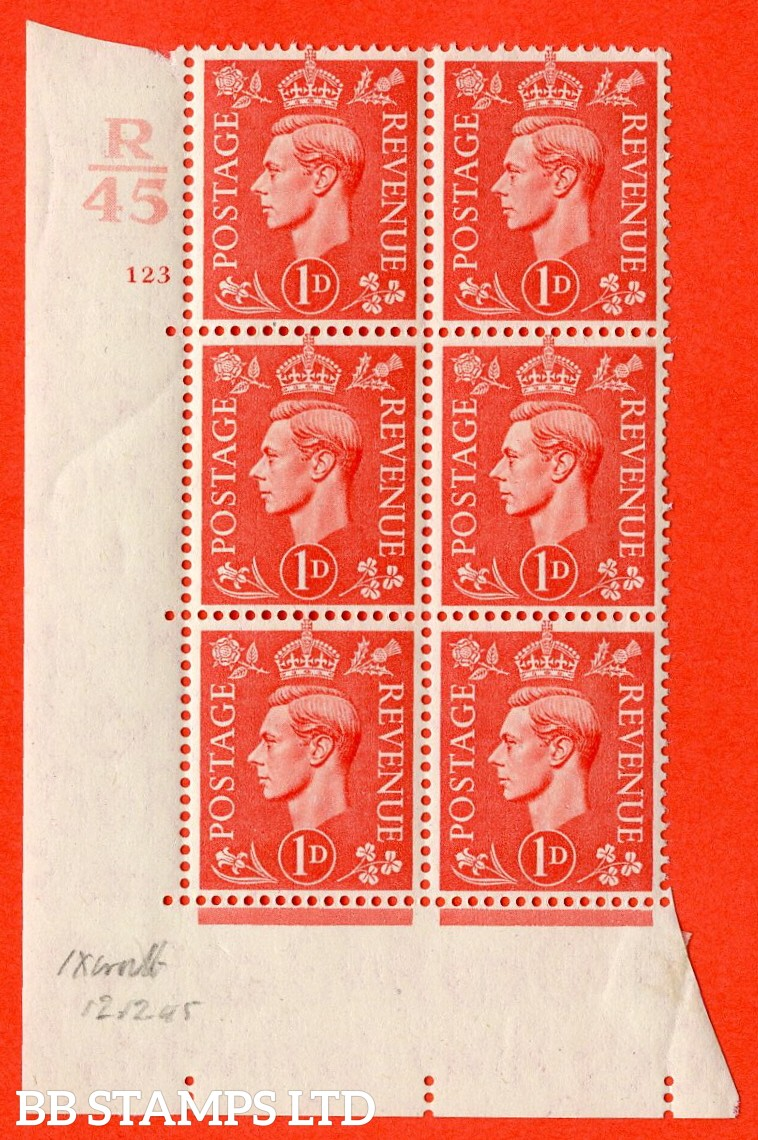 "SG. 486. Q5. 1d Pale scarlet. A Superb UNMOUNTED MINT "" Control R45 cylinder 123 no dot "" control block of 6 with perf type 5 E/I."