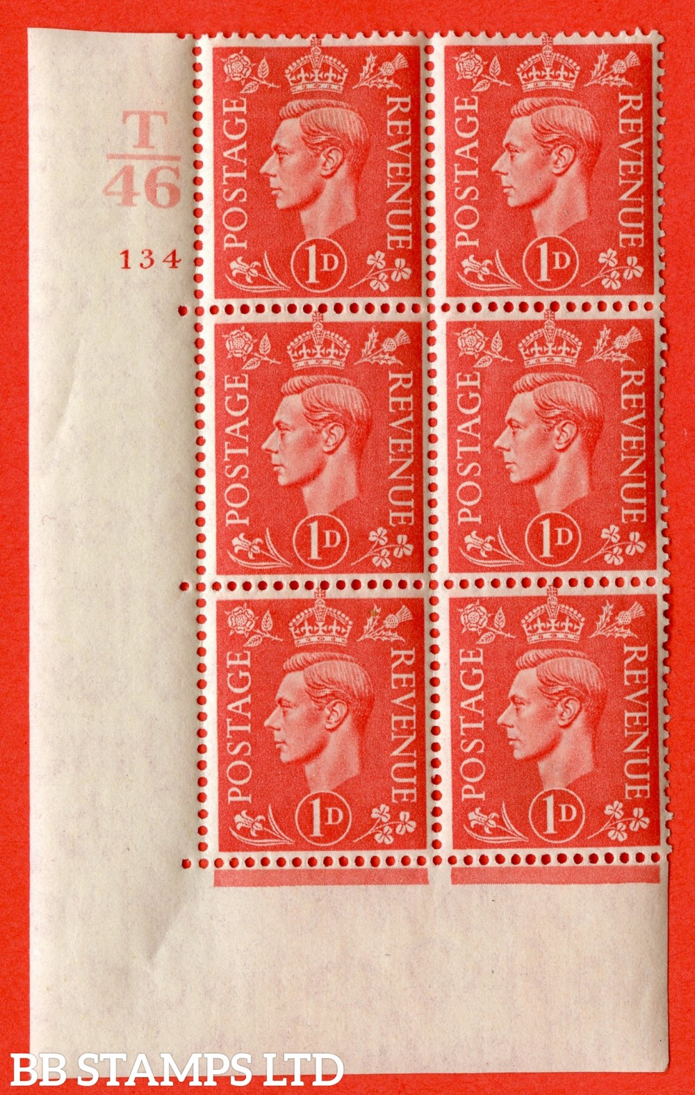 "SG. 486. Q5. 1d Pale scarlet. A fine lightly mounted mint "" Control T46 cylinder 134 no dot "" control block of 6 with perf type 5 E/I."