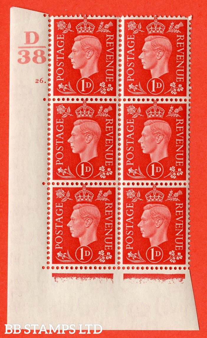 "SG. 463. Q4. 1d Scarlet. A very fine lightly mounted mint "" Control D38 cylinder 26 dot "" block of 6 with perf type 5 E/I with marginal rule."