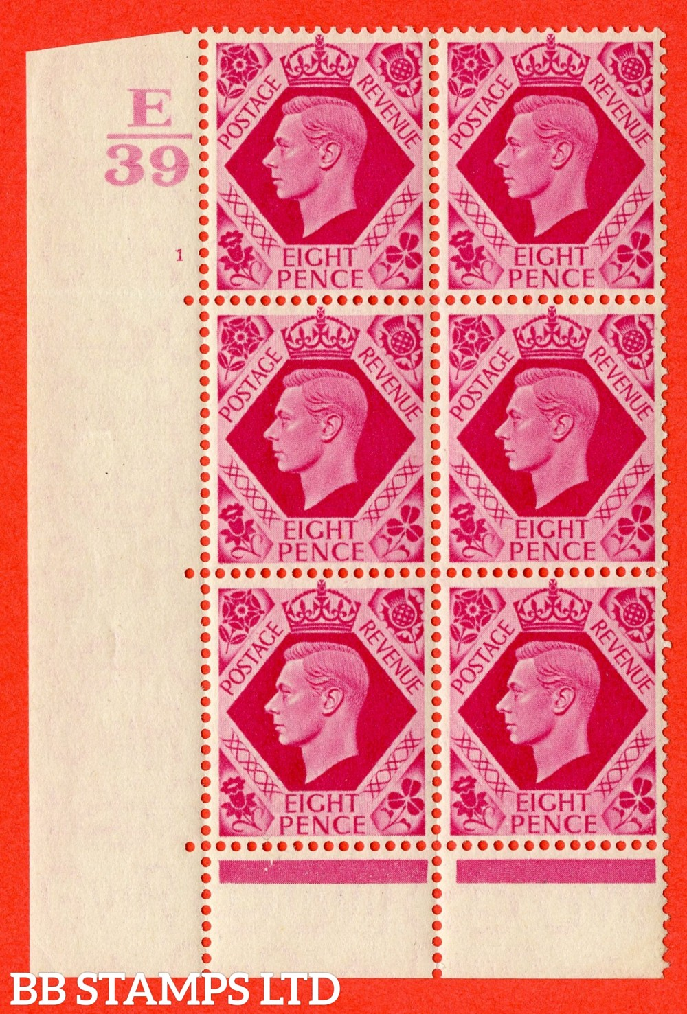 "SG. 472. Q24. 8d Carmine. A superb UNMOUNTED MINT "" Control E39 cylinder 1 no dot "" control block of 6 with perf type 6B E/P."