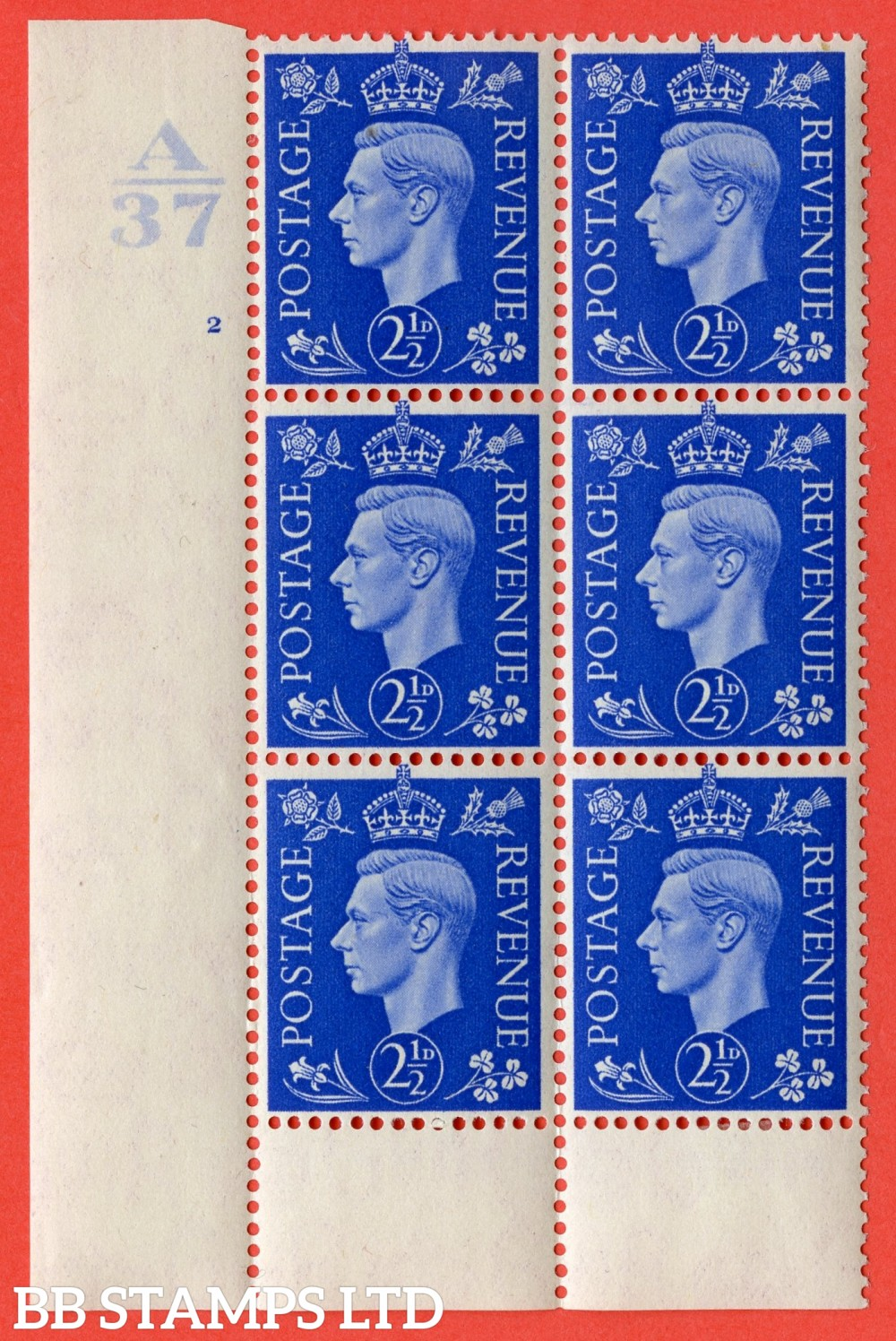 """SG. 466. Q13. 2½d Ultramarine.  A very fine lightly mounted mint """" Control A37 cylinder 2 no dot """" control block of 6 with perf type 6 I/P without marginal rule."""