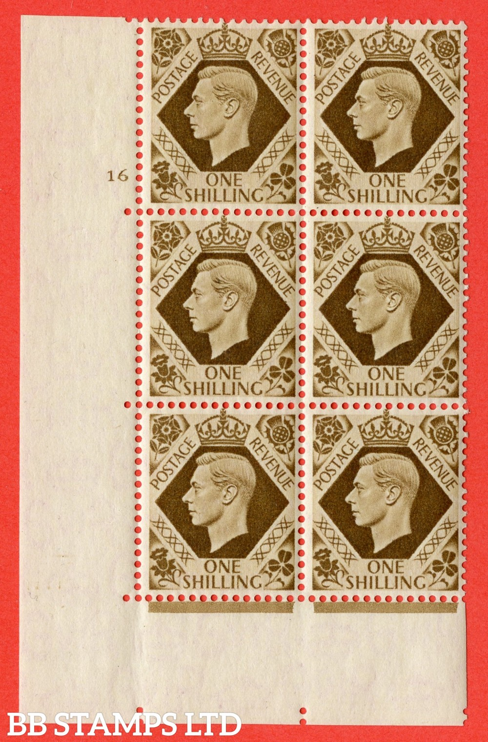"SG. 475. Q28. 1/- Bistre-Brown. A superb UNMOUNTED MINT "" No Control  cylinder 16 no dot "" control block of 6 with perf type 5 E/I"