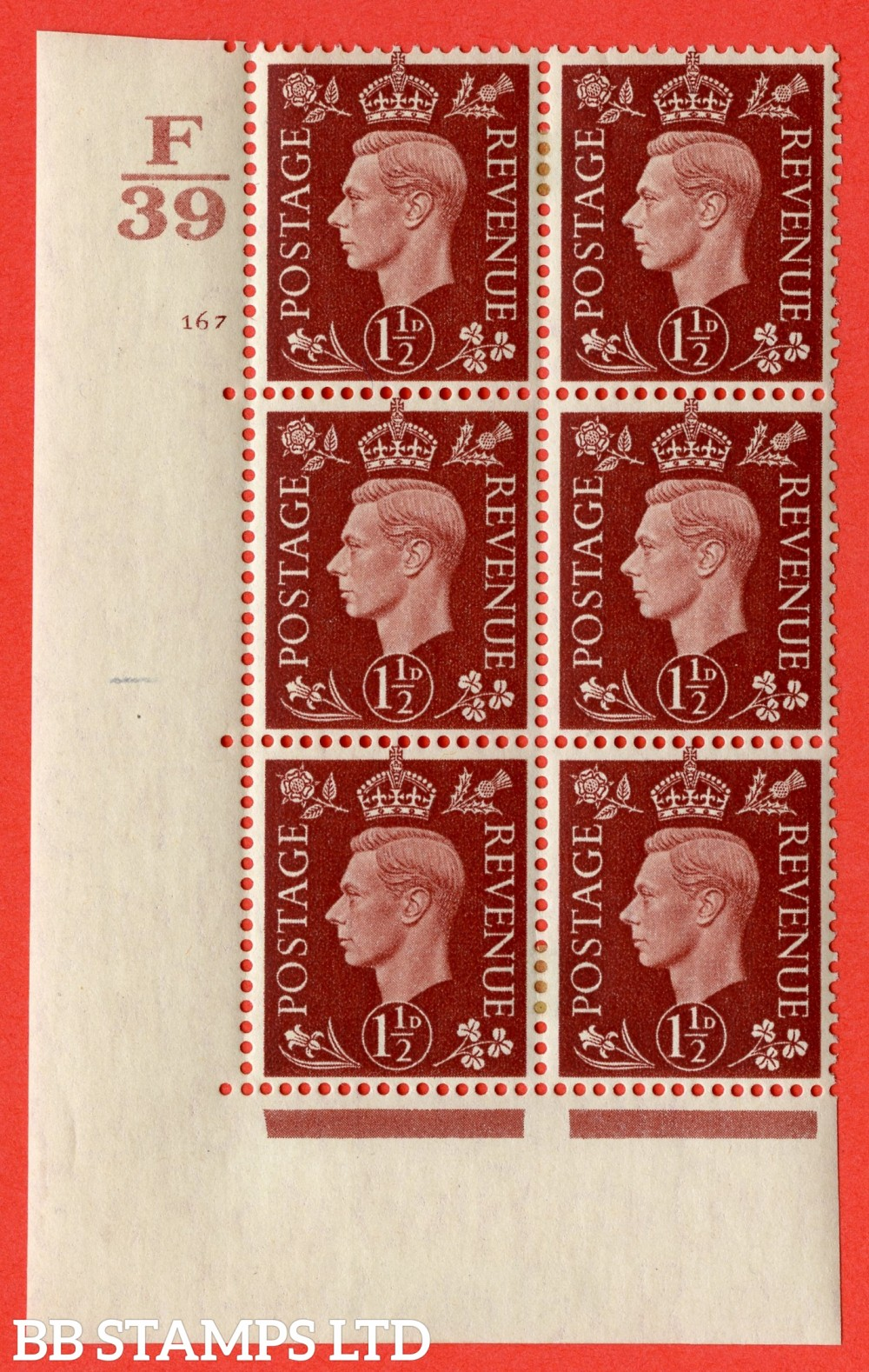 "SG. 464. Q7. 1½d Red-Brown. A very fine mounted mint "" Control F39 cylinder 167 no dot "" control block of 6 with perf type 5 E/I. with marginal rule."