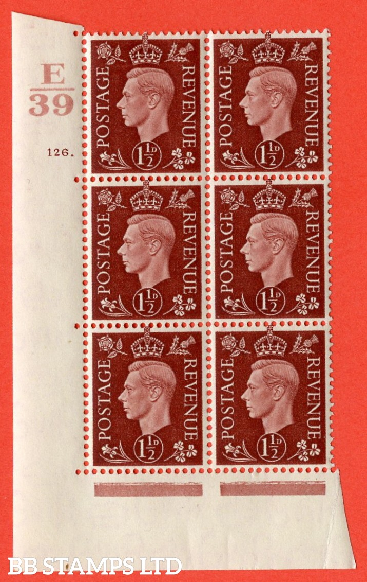 "SG. 464. Q7. 1½d Red-Brown. A superb UNMOUNTED MINT "" Control E39 cylinder 126 dot "" control block of 6 with perf type 5 E/I. with marginal rule."