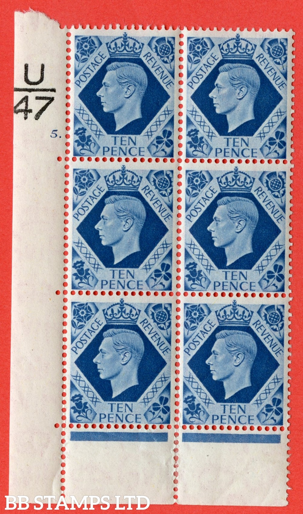 "SG. 474. Q26. 10d Turquoise-Blue. A fine mounted mint "" Control  U47 cylinder 5 dot "" control block of 6 with perf type 6B E/P."