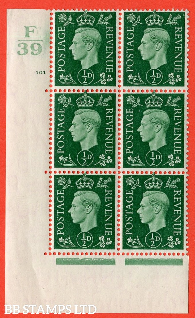 "SG. 462. Q1. ½d Green. A very fine lightly mounted mint "" Control F39 cylinder 101 no dot "" block of 6 with perf type 5 E/I with marginal rule."