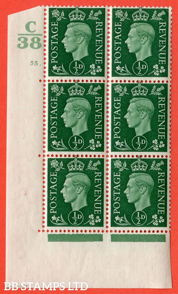 "SG. 462. Q1. ½d Green. A superb UNMOUNTED MINT "" Control C38 cylinder 55 dot "" block of 6 with perf type 5 E/I with marginal rule."