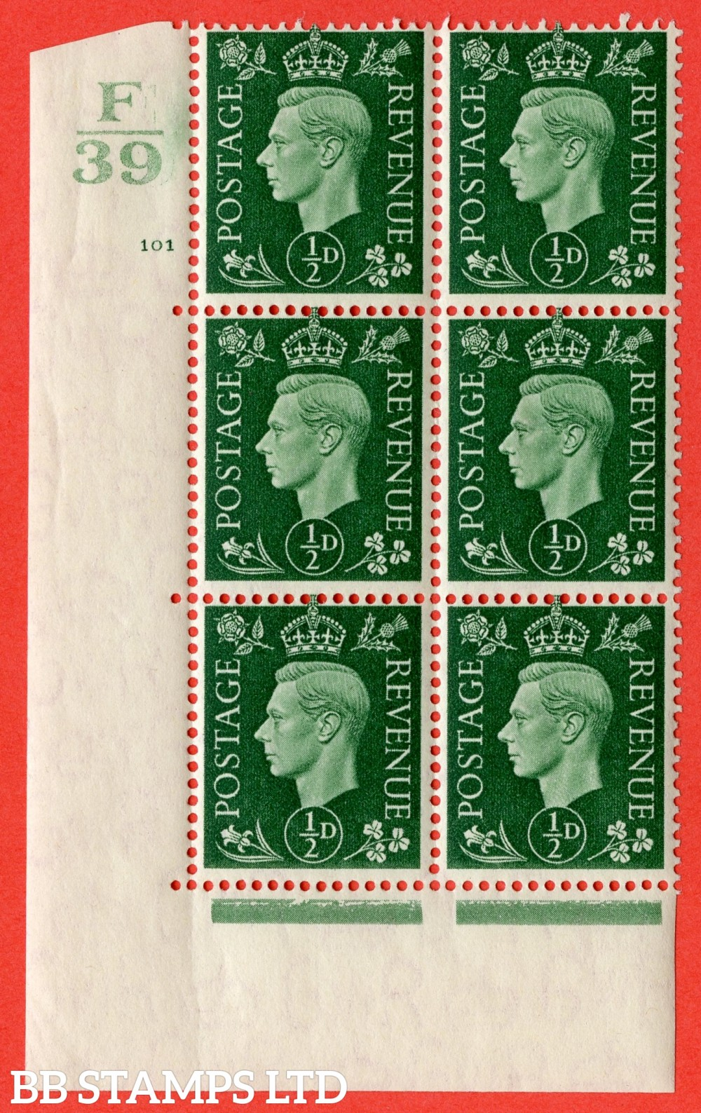 """SG. 462. Q1. ½d Green. A fine lightly mounted mint """" Control F39 cylinder 101 no dot """" block of 6 with perf type 5 E/I with marginal rule."""