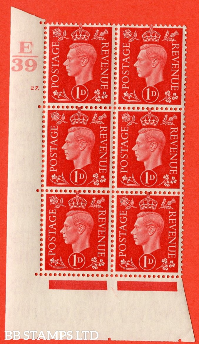 "SG. 463. Q4. 1d Scarlet. A superb UNMOUNTED MINT "" Control E39 cylinder 27 dot "" block of 6 with perf type 5 E/I with marginal rule."