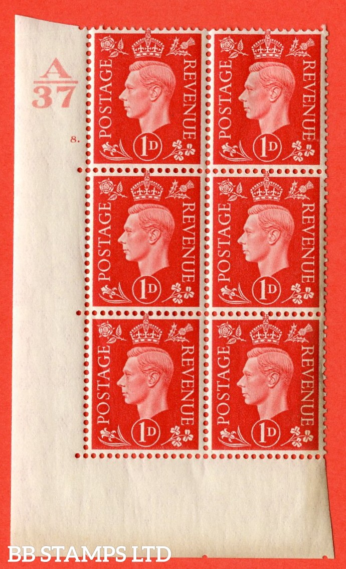 "SG. 463. Q4. 1d Scarlet. A superb UNMOUNTED MINT "" Control A37 cylinder 8 dot "" block of 6 with perf type 5 E/I without marginal rule."