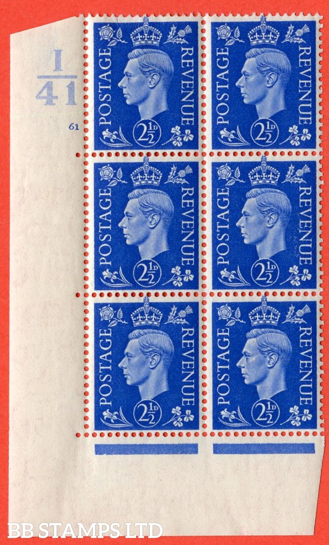"""SG. 466. Q13. 2½d Ultramarine.  A very fine lightly mounted mint """" Control I41 cylinder 61 no dot """" control block of 6 with perf type 5 E/I with marginal rule."""