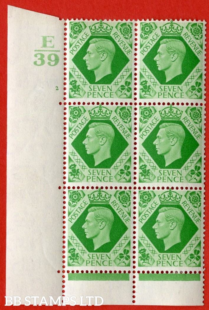 "SG. 471. Q23. 7d Emerald-Green. A very fine lightly mounted mint. "" Control E39 cylinder 2 no dot "" control block of 6 with perf type 6B E/P."