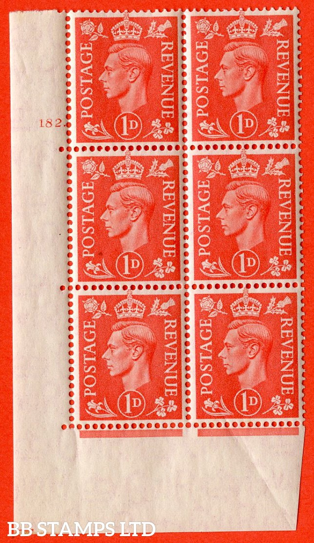 "SG. 486. Q5. 1d Pale scarlet. A superb UNMOUNTED MINT "" No Control cylinder 182 dot "" control block of 6 with perf type 5 E/I."