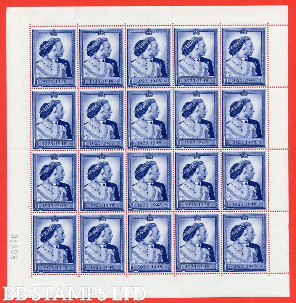 SG. 494. QCom11. £1.00 blue. A fine UNMOUNTED MINT complete sheet of 20.
