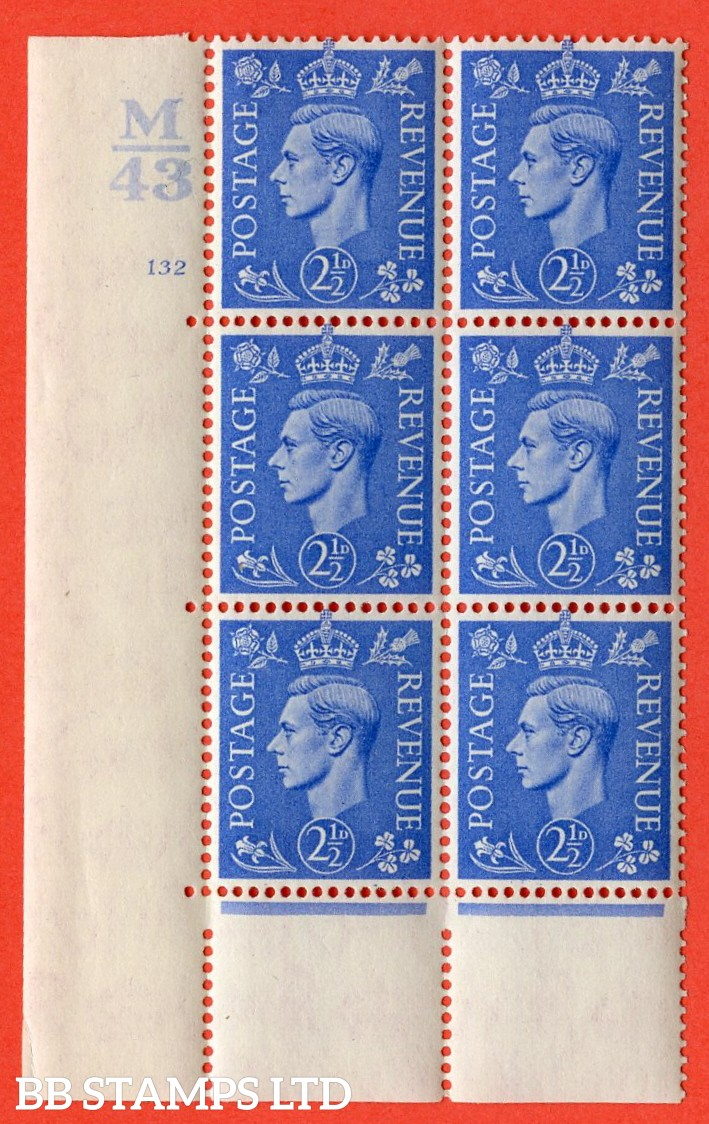 "SG. 489. Q14. 2½d Light ultramarine. A fine lighty mounted mint ""  Control M43 cylinder 132 no dot "" control block of 6 with perf type 5 E/I."