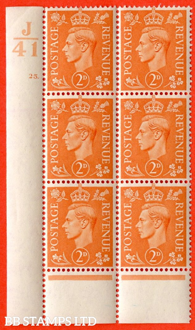"SG. 488. Q11. 2d Pale Orange. A very fine lightly mounted mint. "" Control J41 cylinder 25 dot "" control block of 6 with perf type 5 E/I. Perf separation bottom margin."