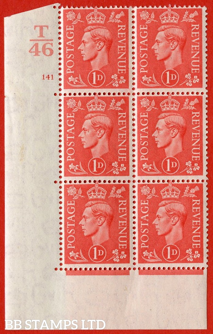 "SG. 486. Q5. 1d Pale scarlet. A superb UNMOUNTED MINT ""  Control T46 cylinder 141 no dot "" control block of 6 with perf type 5 E/I."