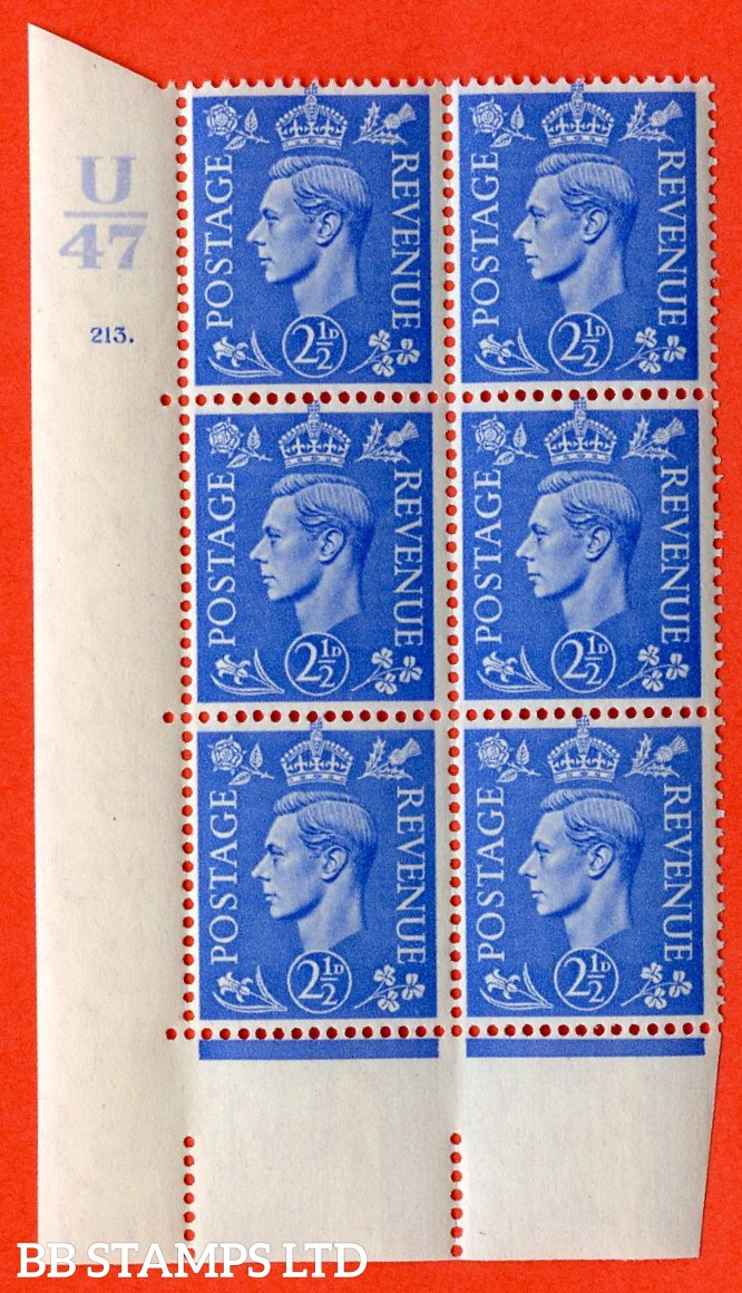 "SG. 489. Q14. 2½d Light ultramarine. A superb UNMOUNTED MINT ""  Control U47 cylinder 213 dot "" control block of 6 with perf type 5 E/I."