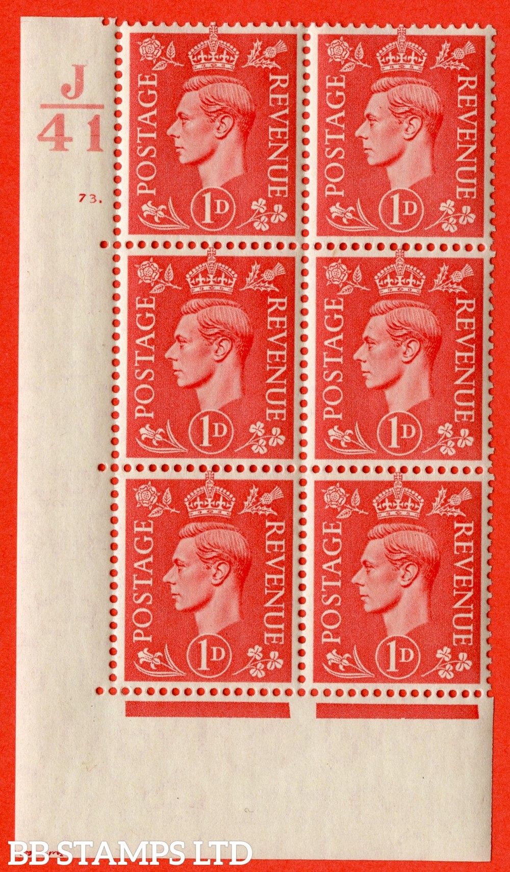 "SG. 486. Q5. 1d Pale scarlet. A fine lightly mounted mint "" Control J41 cylinder 73 dot "" control block of 6 with perf type 5 E/I."
