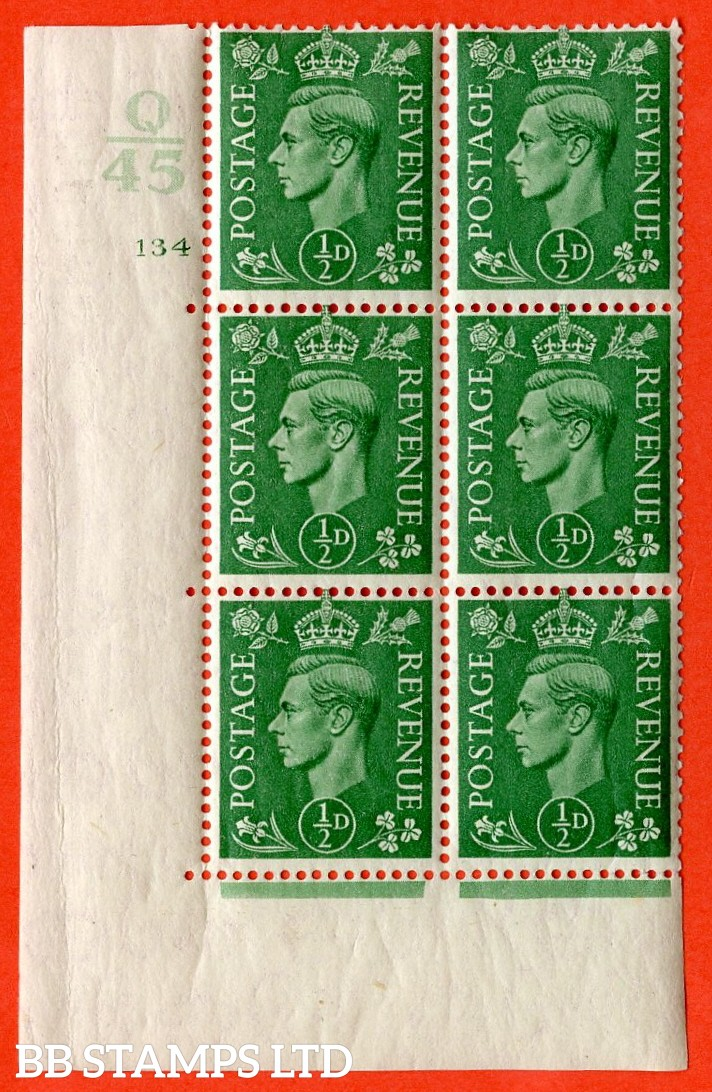"SG. 485. Q2. ½d Pale Green. A very fine lightly mounted mint "" Control Q45 cylinder 134 no dot "" block of 6 with perf type 5 E/I with marginal rule."