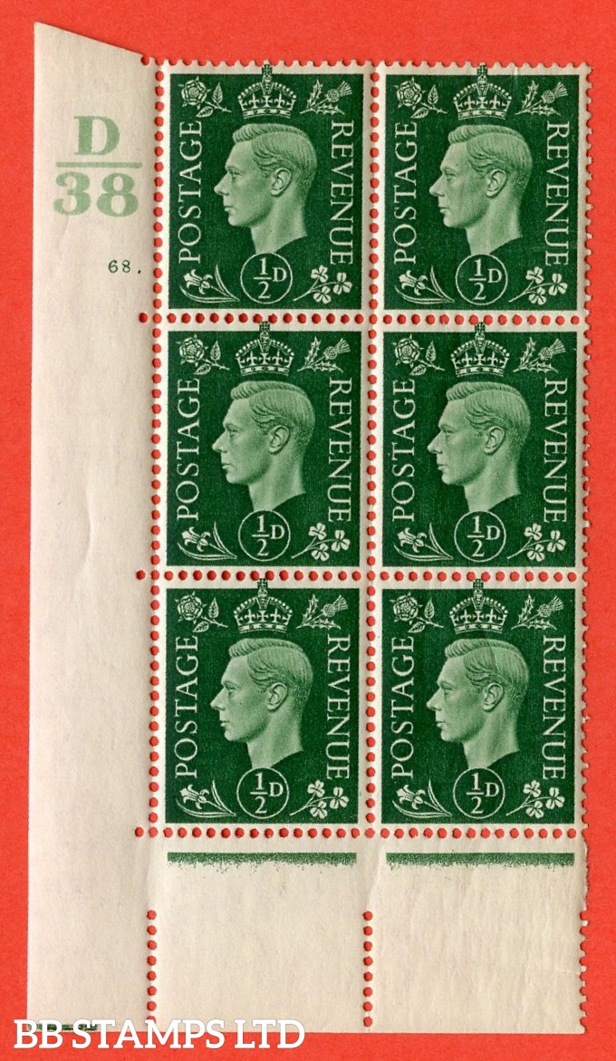 "SG. 462. Q1. ½d Green. A superb UNMOUNTED MINT"" Control D38 cylinder 68 dot "" block of 6 with perf type 5 E/I with marginal rule."