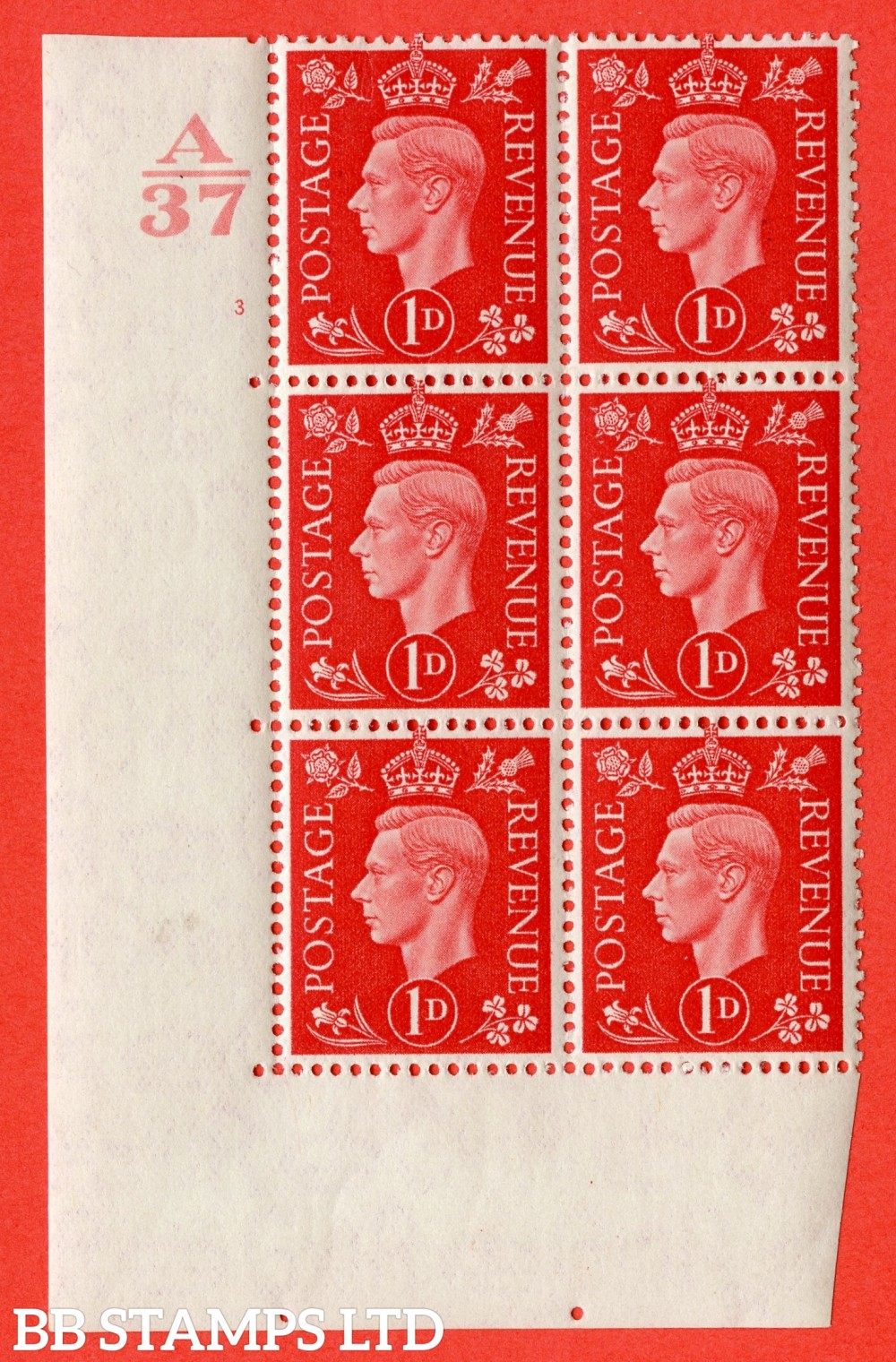 "SG. 463. Q4. 1d Scarlet. A fine lightly mounted mint "" Control A37 cylinder 3 no dot "" block of 6 with perf type 5 E/I without marginal rule."