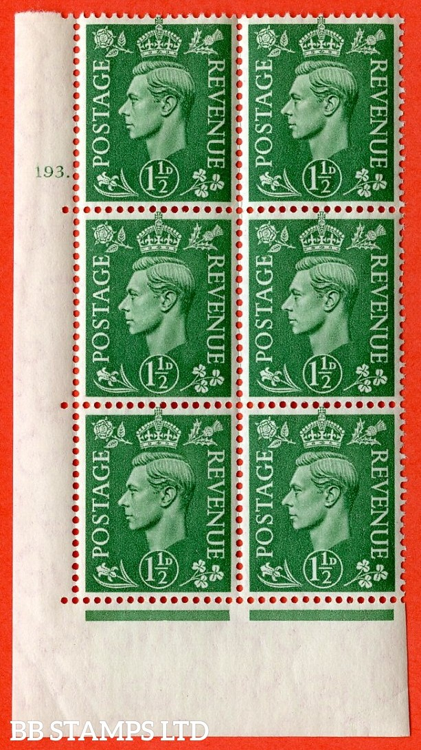 "SG. 505. Q9. 1½d Pale Green. A superb UNMOUNTED MINT "" No Control cylinder 193 dot "" control block of 6 with perf type 5 E/I."