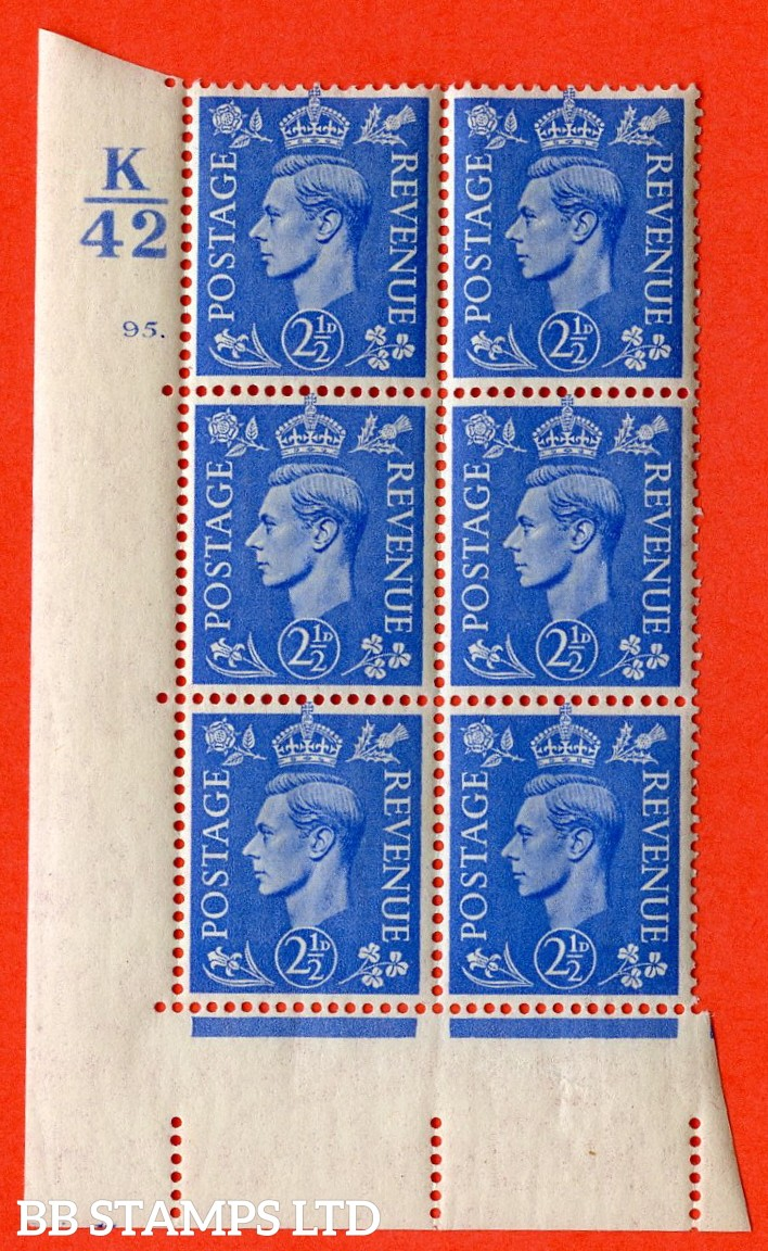 """SG. 489. Q14. 2½d Light ultramarine. A  superb UNMOUNTED MINT """" Control K42 cylinder 95 dot """" control block of 6 with perf type 5 E/I."""