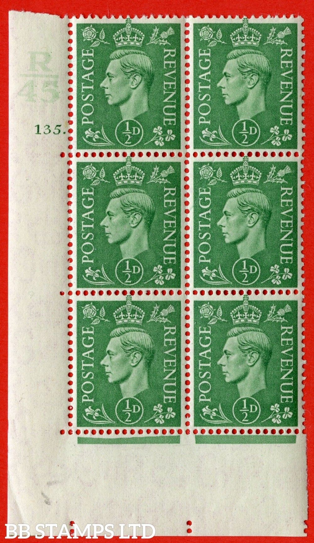 "SG. 485. Q2. ½d Pale Green. A very fine lightly mounted mint "" Control R45 cylinder 135 dot "" block of 6 with perf type 5 E/I with marginal rule."