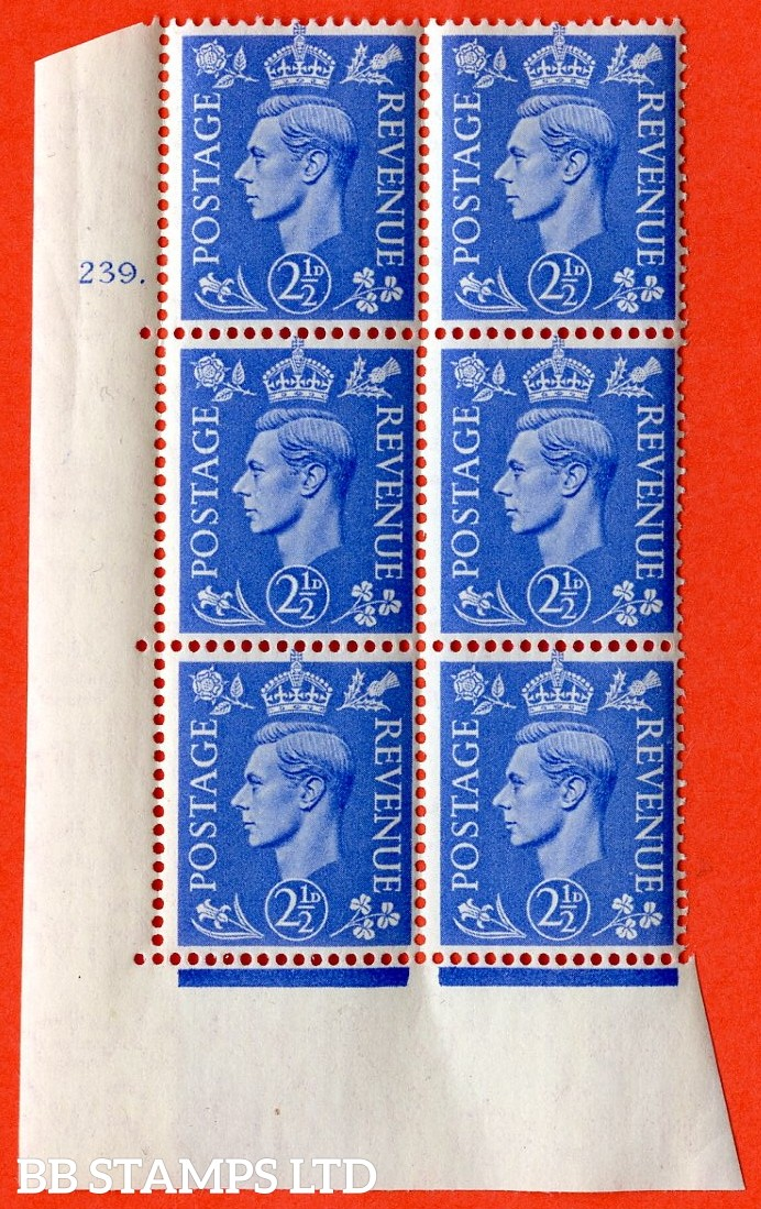 "SG. 489. Q14. 2½d Light ultramarine. A superb UNMOUNTED MINT "" No Control cylinder 239 dot "" control block of 6 with perf type 5 E/I."