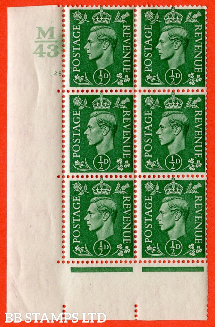 "SG. 485. c. Q2. ½d Pale Green. A very fine lightly mounted mint "" Control M43 cylinder 128 no dot "" block of 6 with perf type 5 E/I with marginal rule."