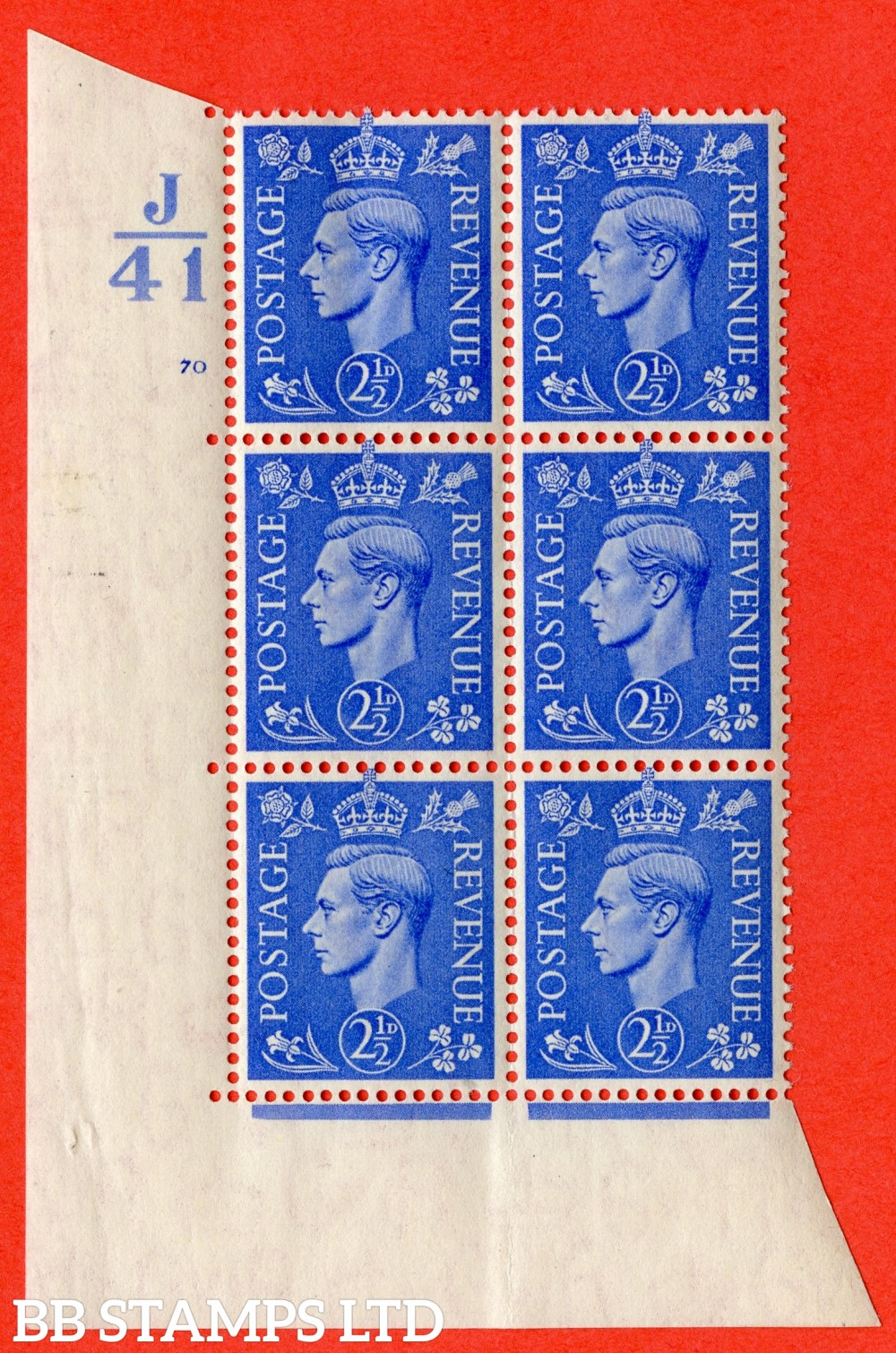 "SG. 489. Q14. 2½d Light ultramarine. A superb UNMOUNTED MINT ""  Control J41 cylinder 70 no dot "" control block of 6 with perf type 5 E/I."
