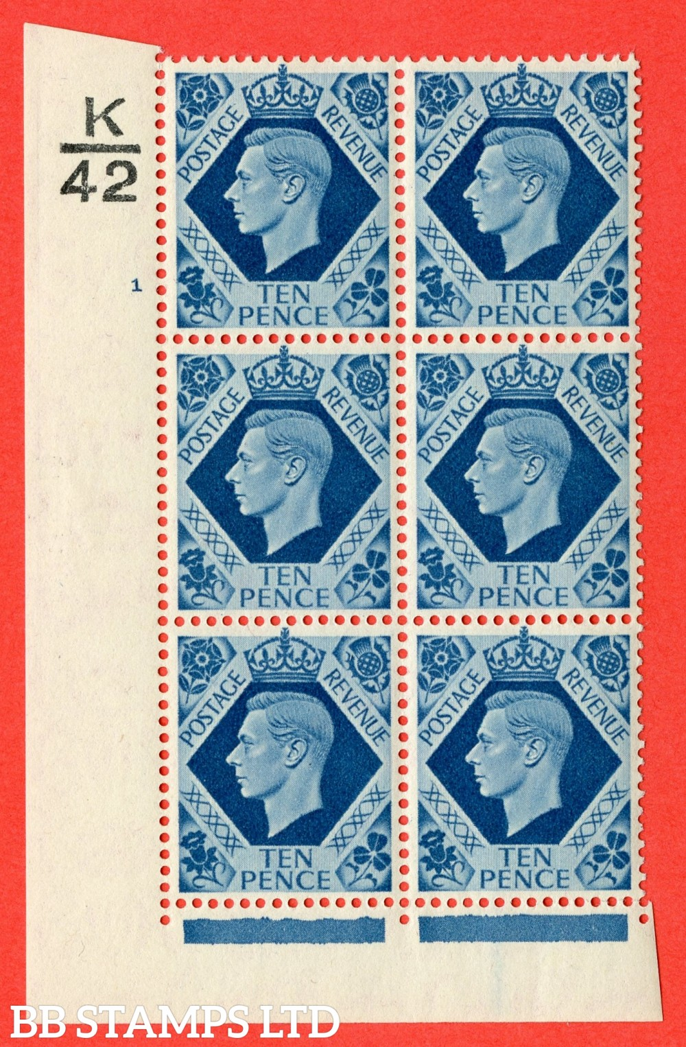 "SG. 474. Q26. 10d Turquoise-Blue. A fine lightly mounted mint "" Control K42 cylinder 1 no dot "" control block of 6 with perf type 2 I/E."