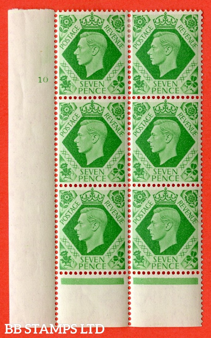"SG. 471. Q23c. 7d Emerald-Green. "" Variety C damaged 'N' row 20/2 "". A fine mounted mint "" No Control cylinder 10 no dot "" control block of 6 with perf type 6 I/P."