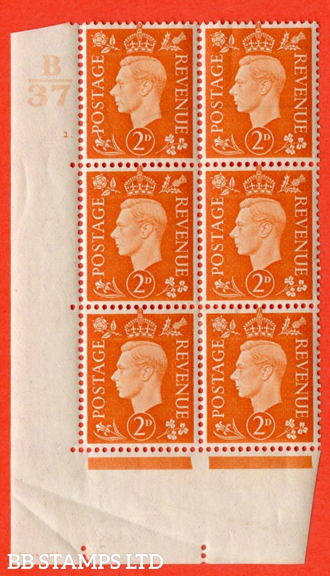 "SG. 465. Q10. 2d Orange. A superb UNMOUNTED MINT "" Control B37 cylinder 1 no dot "" control block of 6 with perf type 5 E/I. Creased in margin."