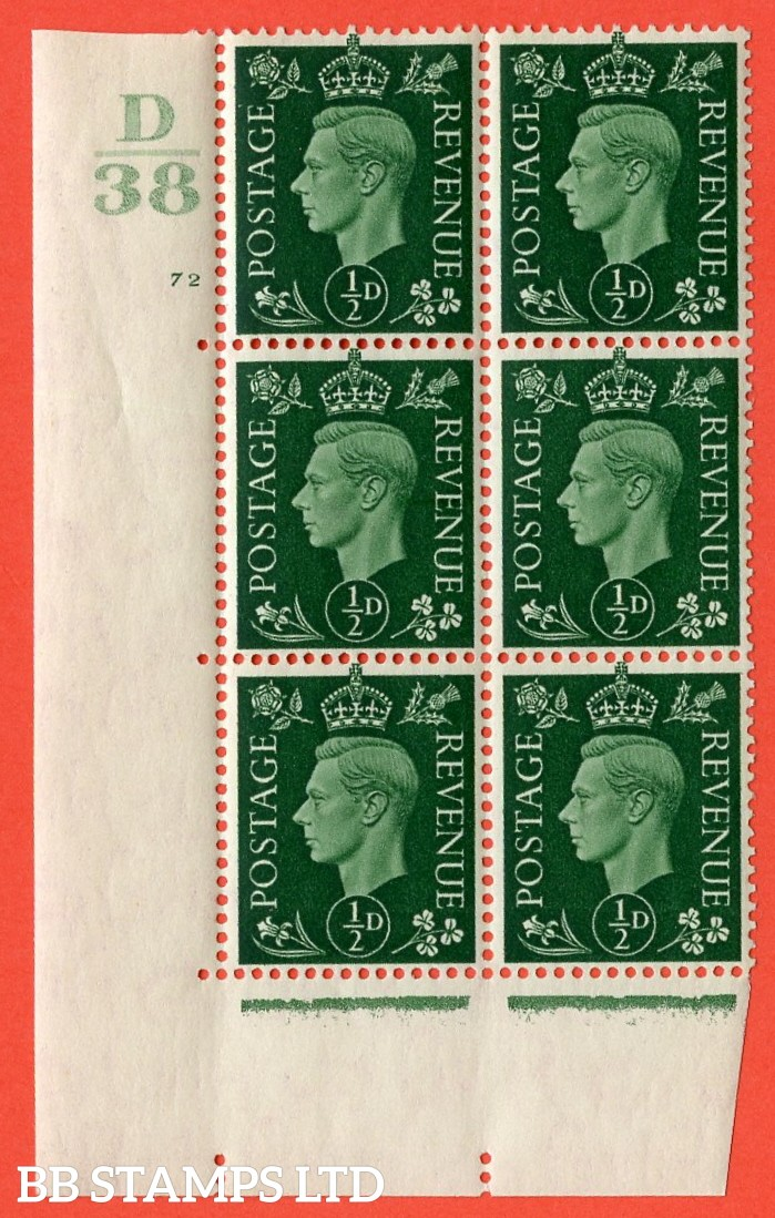 "SG. 462. Q1. ½d Green. A superb UNMOUNTED MINT "" Control D38 cylinder 72 (ii) no dot "" block of 6 with perf type 5 E/I with marginal rule."