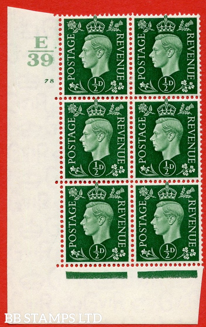 "SG. 462. Q1. ½d Green. A very fine lightly mounted mint "" Control E39 cylinder 78 no dot "" block of 6 with perf type 5 E/I with marginal rule."
