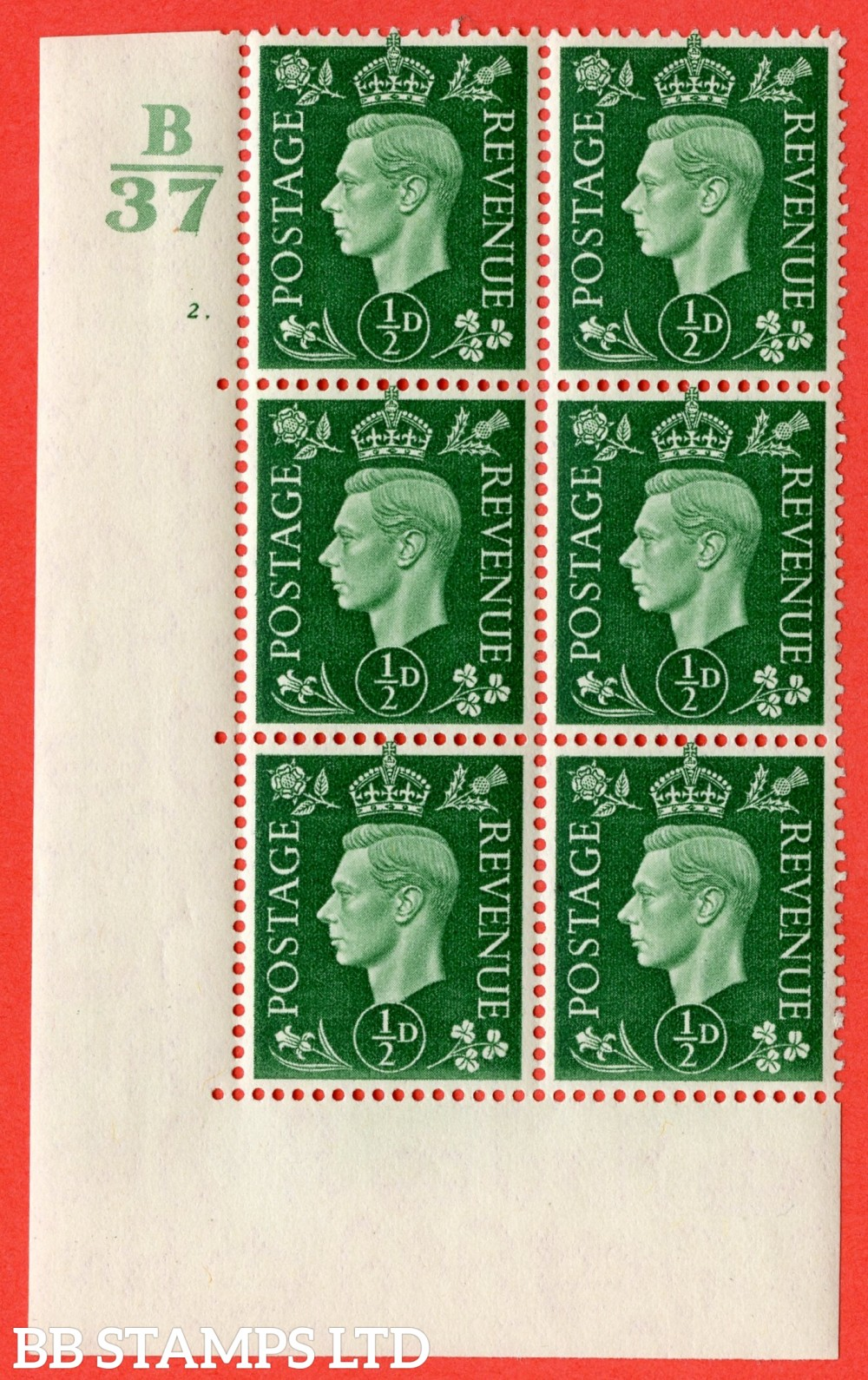 """SG. 462. Q1. ½d Green. A fine lightly mounted mint """" Control B37 cylinder 2 dot """" block of 6 with perf type 5 E/I without marginal rule."""