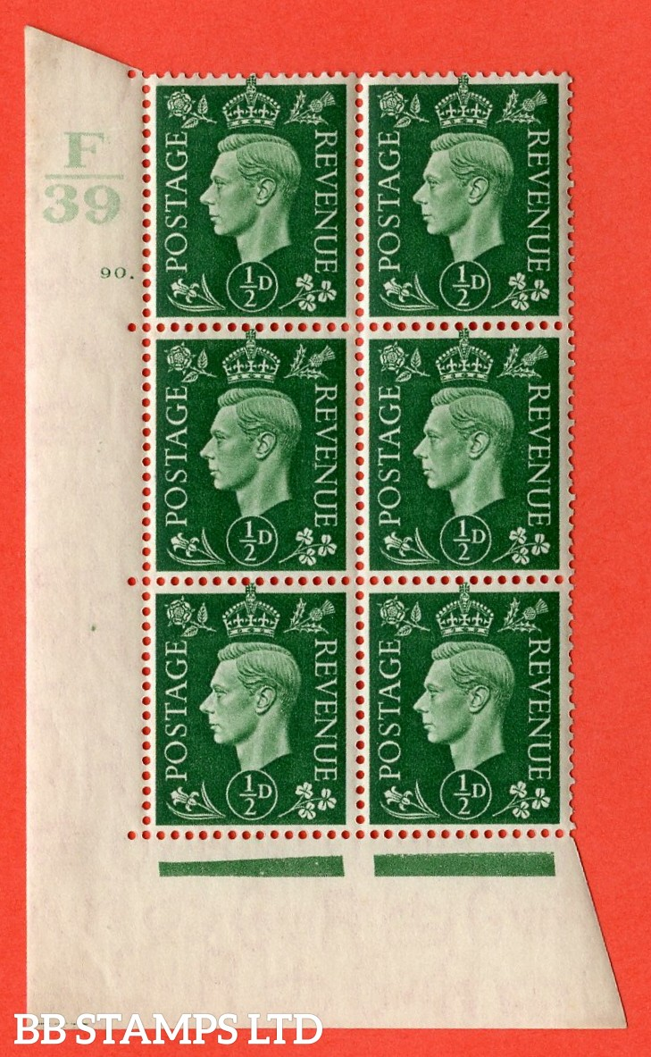 "SG. 462. Q1. ½d Green. A superb UNMOUNTED MINT "" Control F39 cylinder 90 dot "" block of 6 with perf type 5 E/I with marginal rule."