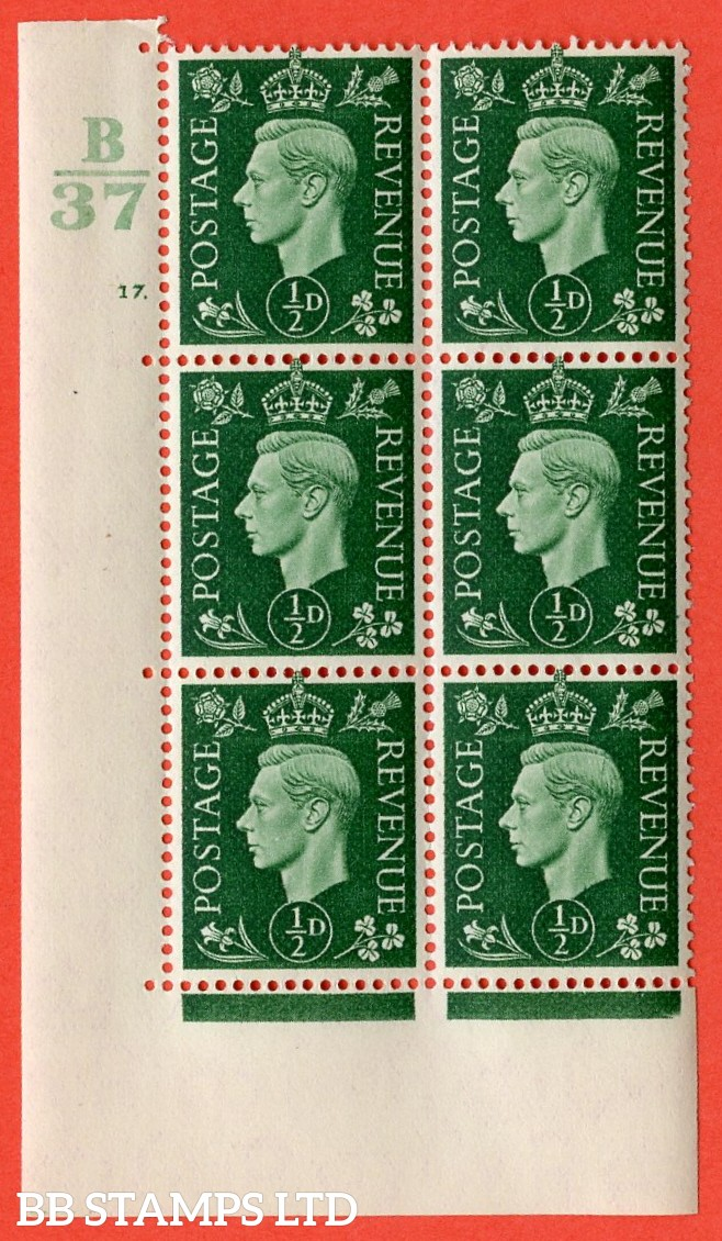 "SG. 462. Q1. ½d Green. A superb UNMOUNTED MINT "" Control B37 cylinder 17 dot "" block of 6 with perf type 5 E/I with marginal rule."